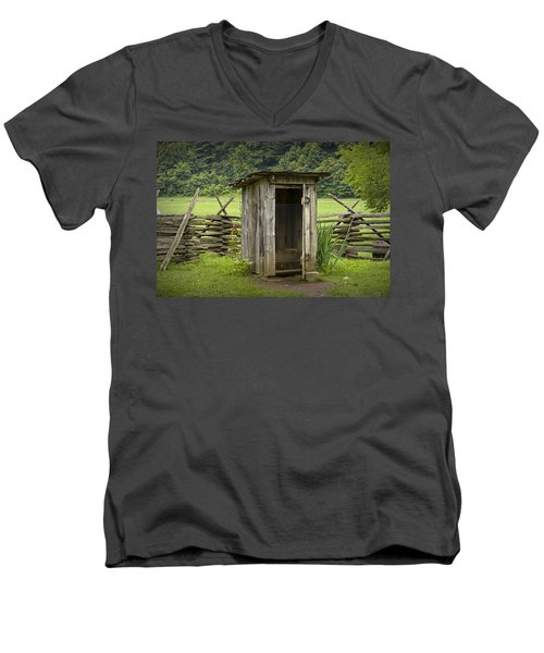 Old Outhouse On A Farm In The Smokey Mountains Men's V-Neck T-Shirt