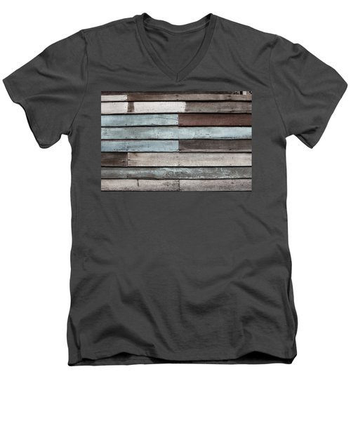 Men's V-Neck T-Shirt featuring the photograph Old Pale Wood Wall by Jingjits Photography