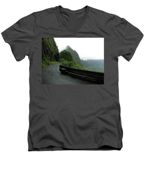 Men's V-Neck T-Shirt featuring the photograph Old Pali Road, Oahu, Hawaii by Mark Czerniec