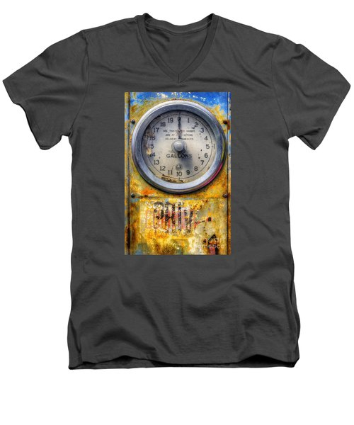 Old Petrol Pump Gauge Men's V-Neck T-Shirt by Ian Mitchell