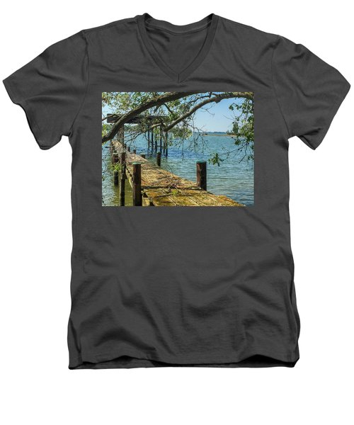 Men's V-Neck T-Shirt featuring the photograph Old Pier On The Tred Avon by Charles Kraus