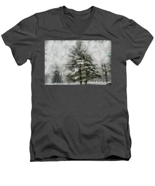 Men's V-Neck T-Shirt featuring the mixed media Old Piney by Trish Tritz