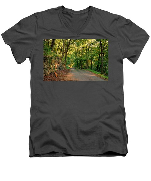 Men's V-Neck T-Shirt featuring the photograph Old Plank Road by Cricket Hackmann