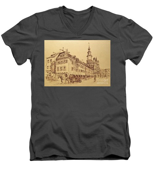 Old Poznan Drawing Men's V-Neck T-Shirt by Maja Sokolowska