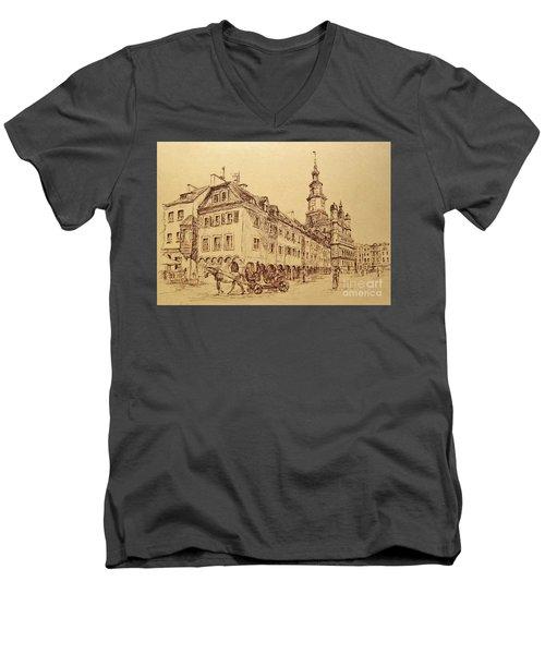 Old Poznan Drawing Men's V-Neck T-Shirt