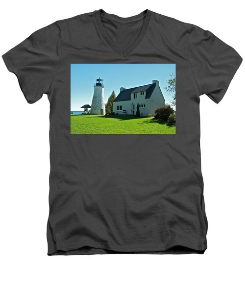 Old Presque Isle Lighthouse_9480 Men's V-Neck T-Shirt by Michael Peychich