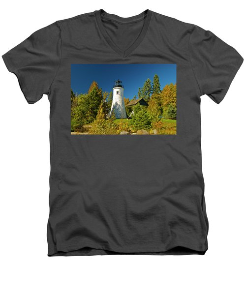 Old Presque Isle Lighthouse_9488 Men's V-Neck T-Shirt by Michael Peychich