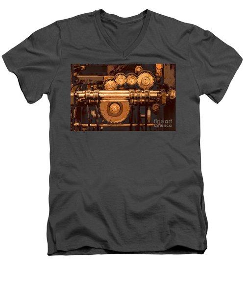 Old Printing Press Men's V-Neck T-Shirt by Ari Salmela