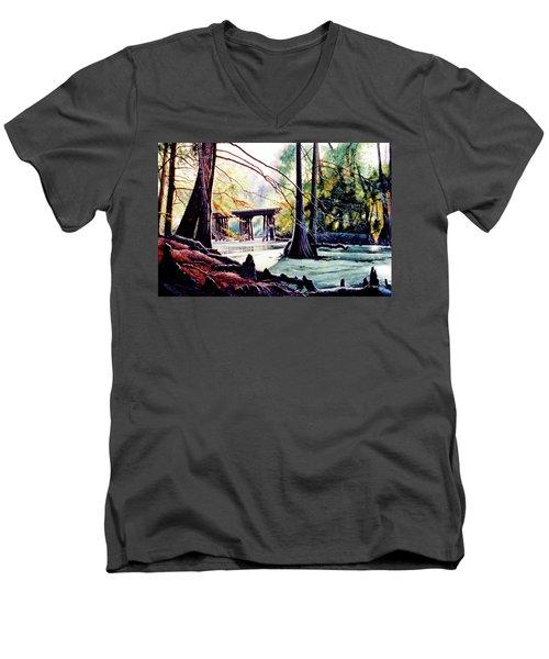 Old Railroad Bridge Men's V-Neck T-Shirt