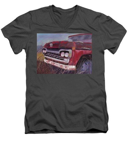 Old Red Men's V-Neck T-Shirt by Arlene Crafton