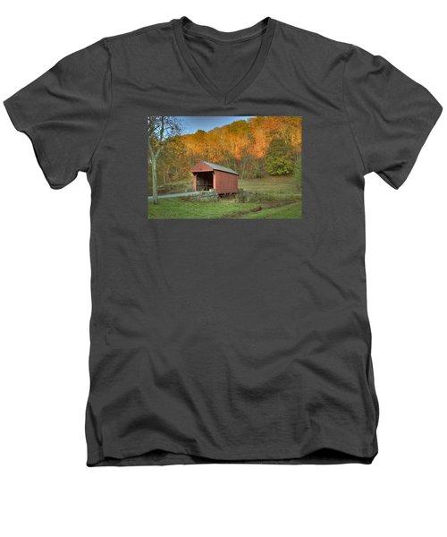 Old Red Or Walkersville Covered Bridge Men's V-Neck T-Shirt