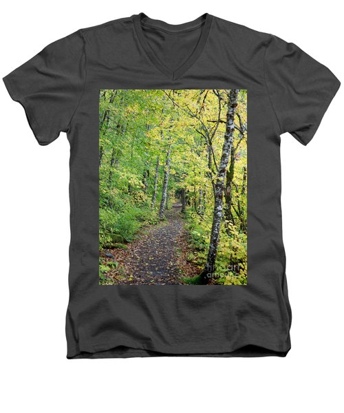 Men's V-Neck T-Shirt featuring the photograph Old Rr Right-away by Peter Simmons