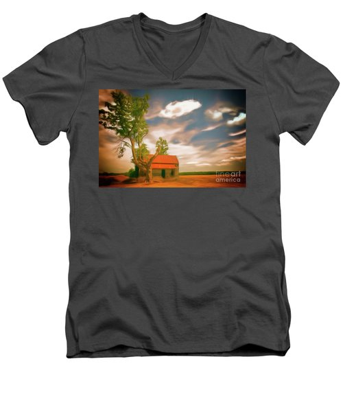 Old Rustic Vintage Farm House And Tree Ap Men's V-Neck T-Shirt