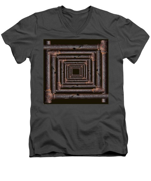 Men's V-Neck T-Shirt featuring the mixed media Old Rusty Pipes by Viktor Savchenko