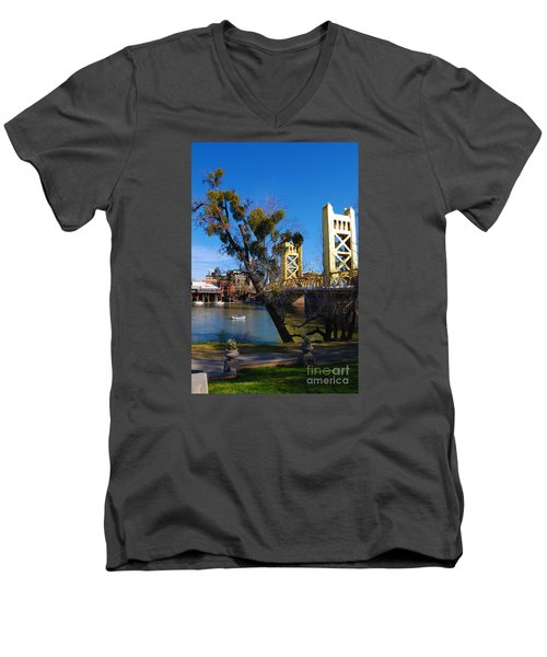 Old Sacramento Tower Bridge Men's V-Neck T-Shirt
