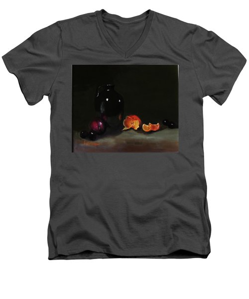 Men's V-Neck T-Shirt featuring the painting Old Sake Jug And Fruit by Barry Williamson