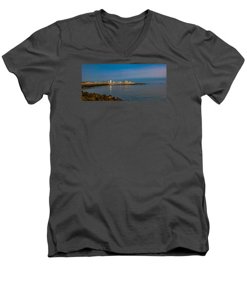 Old Scituate Light From The Jetty Men's V-Neck T-Shirt by Brian MacLean