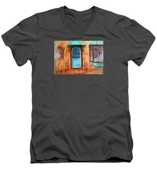 Old Service Station With Blue Door Men's V-Neck T-Shirt