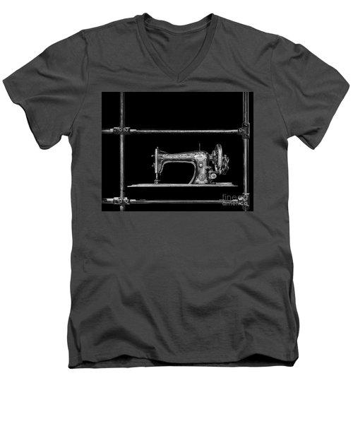 Old Singer Sewing Machine Men's V-Neck T-Shirt by Walt Foegelle