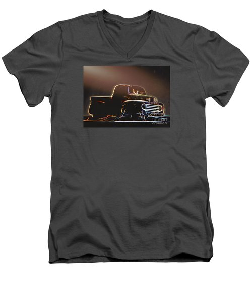 Men's V-Neck T-Shirt featuring the photograph Old Sketched Pickup by Jim Lepard