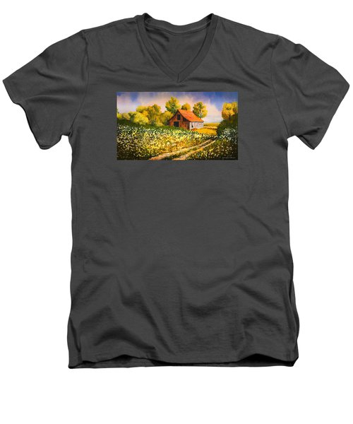 Old Spring Farm Men's V-Neck T-Shirt by Douglas Castleman