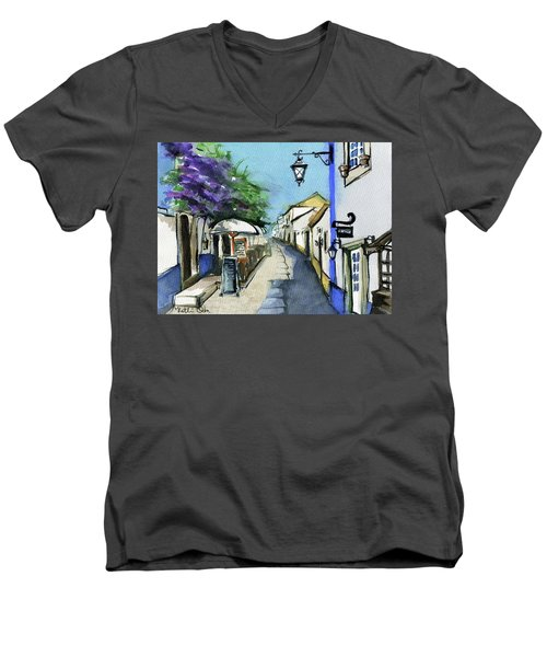 Men's V-Neck T-Shirt featuring the painting Old Street In Obidos, Portugal by Dora Hathazi Mendes