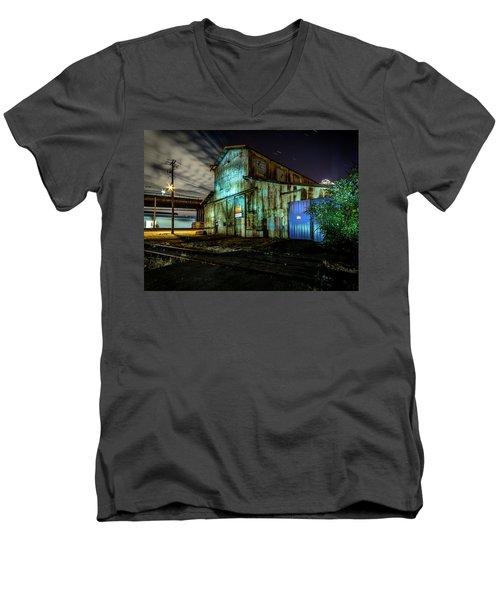 Old Tacoma Industrial Building Light Painted Men's V-Neck T-Shirt
