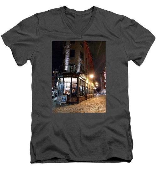 Men's V-Neck T-Shirt featuring the photograph Old Tavern Boston by Haleh Mahbod