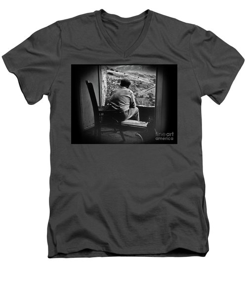 Men's V-Neck T-Shirt featuring the photograph Old Thinking by Bruno Spagnolo