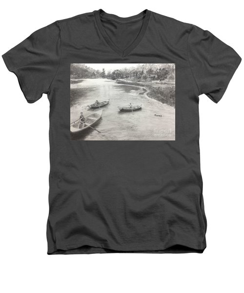 Men's V-Neck T-Shirt featuring the drawing Old Time Camp Days by Mary Lynne Powers