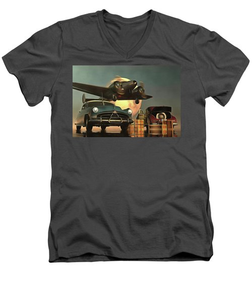 Old-timers With Airplane Men's V-Neck T-Shirt