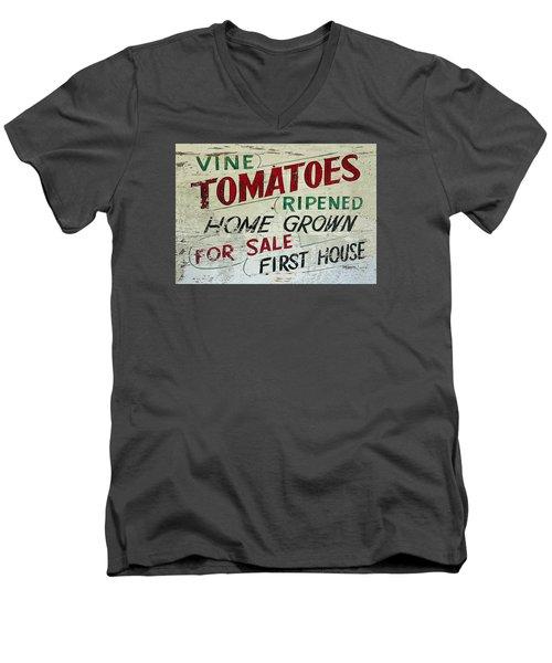 Old Tomato Sign - Vine Ripened Tomatoes Men's V-Neck T-Shirt by Rebecca Korpita