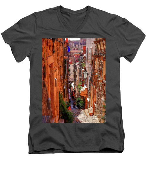 Old Town Dubrovniks Inner Passages Men's V-Neck T-Shirt