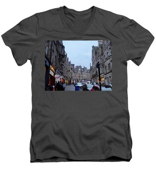 Old Town Edinburgh Men's V-Neck T-Shirt by Margaret Brooks