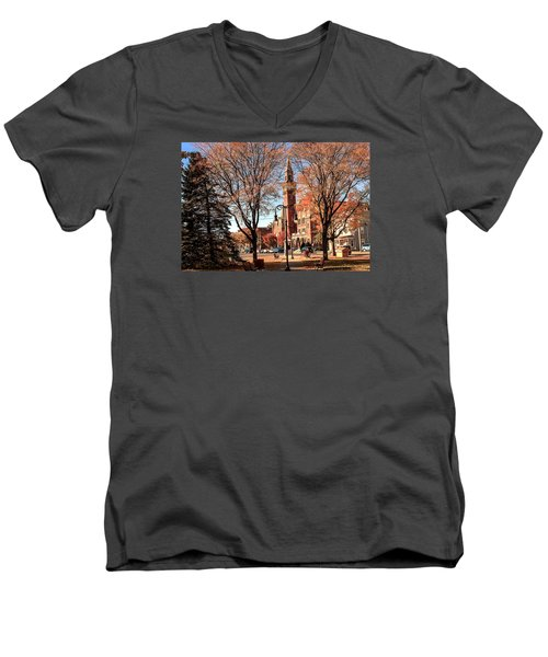 Old Town Hall In The Fall Men's V-Neck T-Shirt