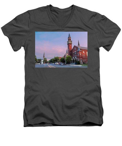 Old Town Hall Sunset Sky Men's V-Neck T-Shirt