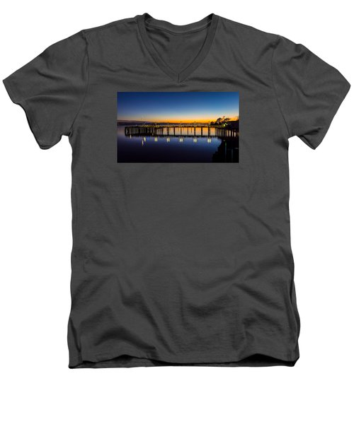 Old Town Pier Blue Hour Sunrise Men's V-Neck T-Shirt by Rob Green