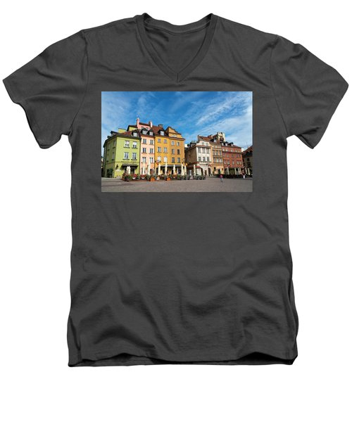 Men's V-Neck T-Shirt featuring the photograph Old Town Warsaw by Chevy Fleet