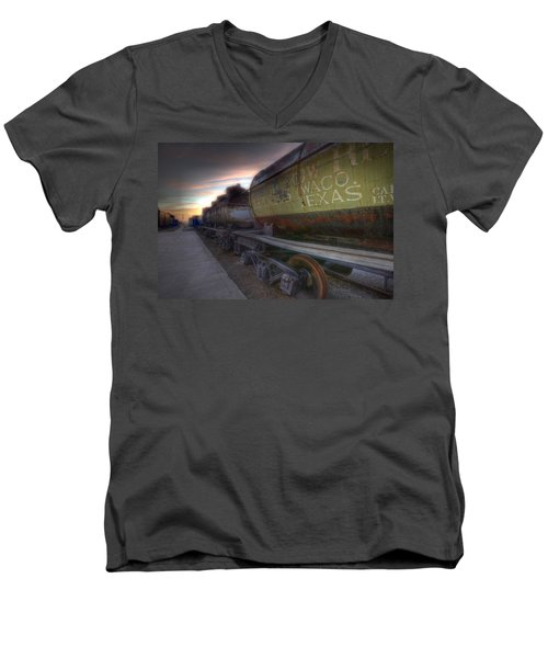 Men's V-Neck T-Shirt featuring the tapestry - textile Old Train - Galveston, Tx 2 by Kathy Adams Clark