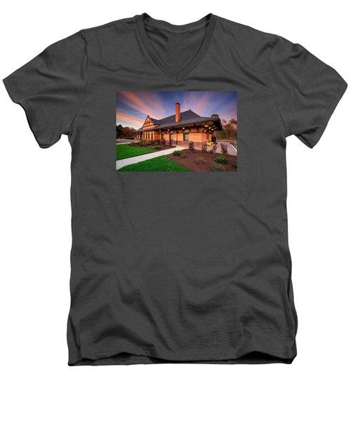 Old Train Station Men's V-Neck T-Shirt by Emmanuel Panagiotakis