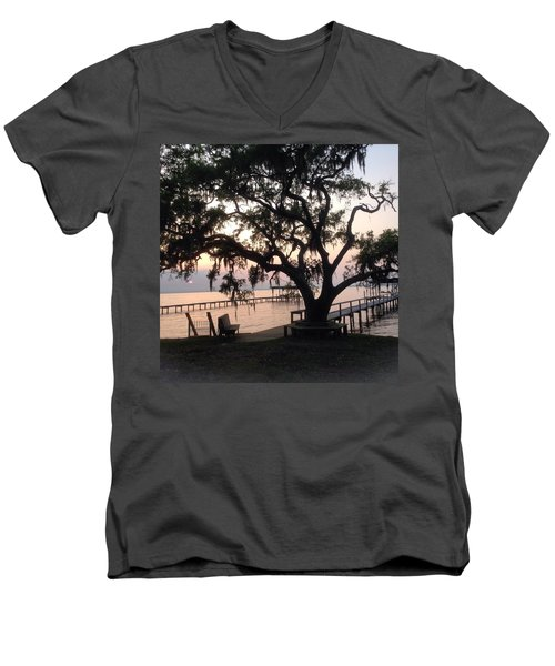 Men's V-Neck T-Shirt featuring the photograph Old Tree At The Dock by Christin Brodie