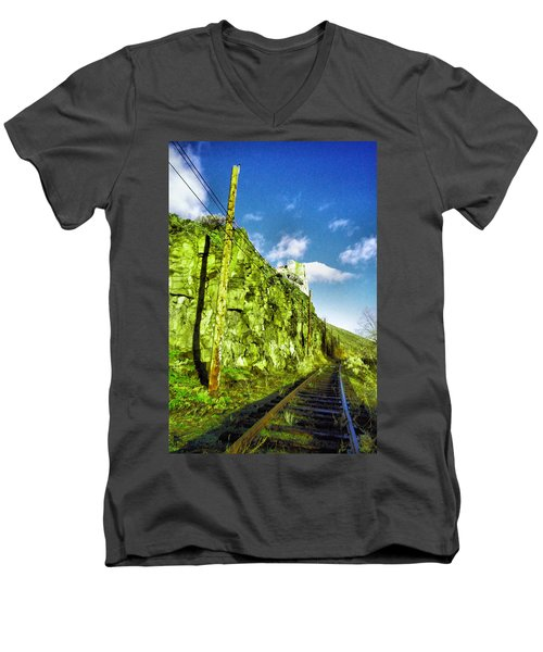 Men's V-Neck T-Shirt featuring the photograph Old Trolly Tracks by Jeff Swan