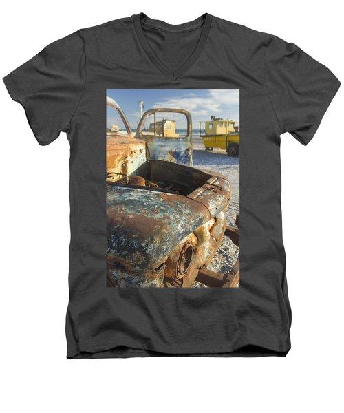Old Truck In The Beach Men's V-Neck T-Shirt