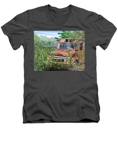 Men's V-Neck T-Shirt featuring the painting Old Truck Rusting by Marilyn  McNish