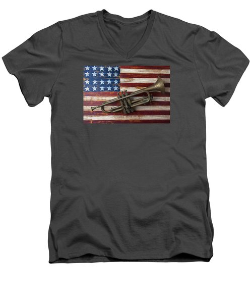 Old Trumpet On American Flag Men's V-Neck T-Shirt by Garry Gay