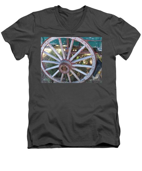 Men's V-Neck T-Shirt featuring the photograph Old Wagon Wheel by Dora Sofia Caputo Photographic Art and Design