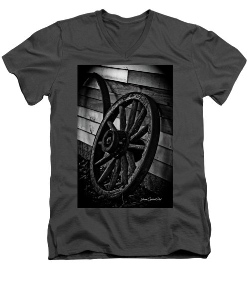Old Wagon Wheel Men's V-Neck T-Shirt by Joann Copeland-Paul