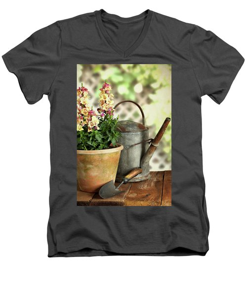 Old Watering Can With Plant Men's V-Neck T-Shirt