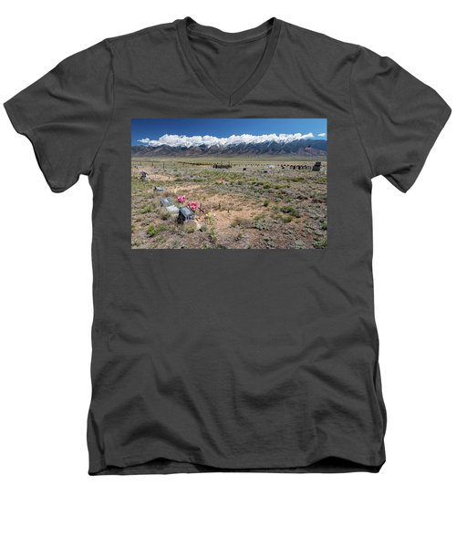 Old West Rocky Mountain Cemetery View Men's V-Neck T-Shirt by James BO Insogna