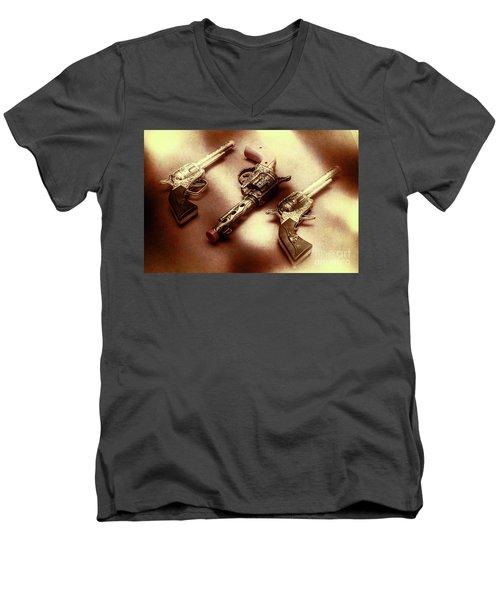 Old Western At Play Men's V-Neck T-Shirt
